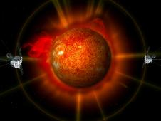 An artist rendering of the twin STEREO spacecraft observing an erupting sun.
