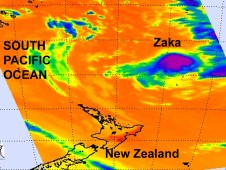 NASA's AIRS showed Tropical Storm Zaka's cloud-top temperatures in the South Pacific Ocean.
