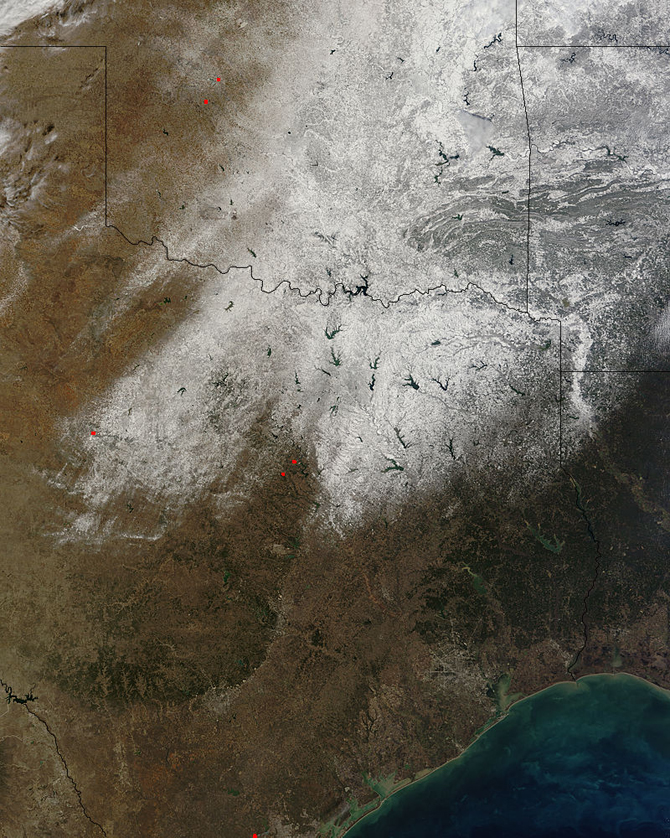 satellite image of snow in Oklahoma and Texas