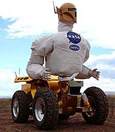 Robonaut on a base with four wheels