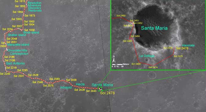 Opportunity's traverse map through Sol 2478