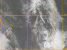 GOES-11 passed near Cyclone Zaka's remnants (bottom right) on Feb. 8 and captured an infrared image of its clouds.
