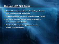 Russian EVA #28 Tasks