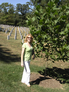 Rosemary Roosa and moon tree at Arlington