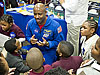 Leland Melvin talks with students