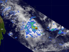 94S was near Madagascar in the South Indian Ocean on February 8 and TRMM satellite revealed heavy rainfall.