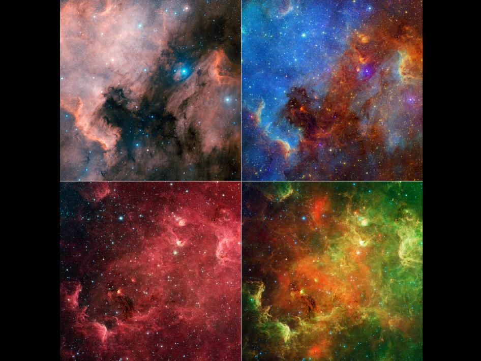 Appearance of the North American nebula can change dramatically using different combinations of visible and infrared observations