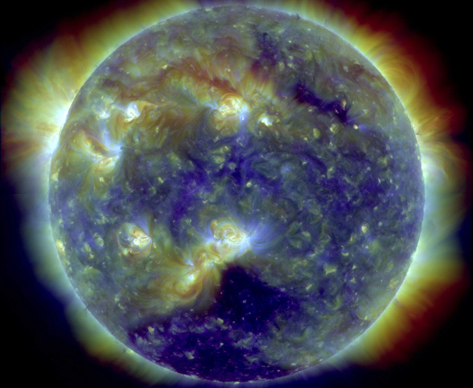 A composite SDO image from Feb. 11, 2011, exactly one year after its launch.