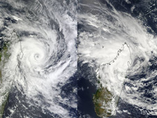 MODIS captured these two images of Cyclone Bingiza before and after it crossed northern Madagascar on Feb. 13
