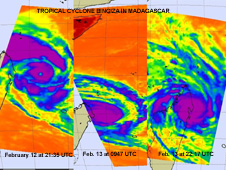 AIRS shows the progression of Tropical Cyclone Bingiza over the weekend of Feb. 12-13
