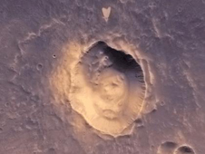 heart-shaped feature in Arabia Terra on Mars