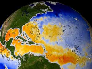 Visualization of Hurricane Fabian as it runs through a large patch of warm water