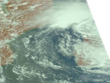AIRS visible image of Tropical Storm Bingiza; the African mainland is on the left and Madagascar is on the right.