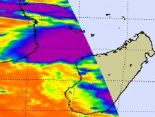 AIRS infrared image showing cold thunderstorm cloud tops (purple) to the north and west of Tropical Storm Bingiza