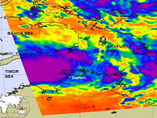 The AIRS instrument aboard NASA's Aqua satellite captured an infrared image of System 99S on Feb. 15