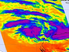 AIRS instrument infrared data showed three areas of strong convection (purple) in System 97S.