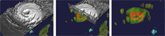 Spaceborne rain radar allows scientists to create 3-D views of precipitation, height of the rain column and warmth of the core inside powerful hurricanes