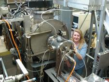 Deborah Waters working in the Atomic Oxygen Exposure Vacuum Chamber