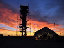 At Vandenberg Air Force Base in California, the sun sets over Space Launch Complex 576-E.