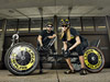 Ezra Logreira, left, and Karine Wittenborg, moonbuggy racers from the Huntsville Center for Technology, are geared up for the 18th annual NASA Great Moonbuggy Race.