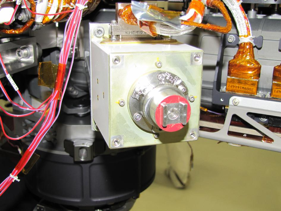 Sensor head on the Alpha Particle X-ray Spectrometer instrument