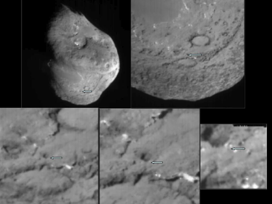 Series of images shows the area where NASA's Deep Impact probe collided with the surface of comet Tempel 1 in 2005
