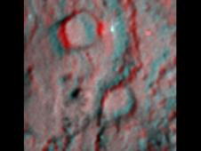 Anaglyph shows the region where NASA's Deep Impact mission sent a probe into the surface of comet Tempel 1