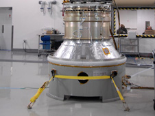 Glory sits in a clean room at Vandenberg prior to being stowed in a Taurus XL launch vehicle.