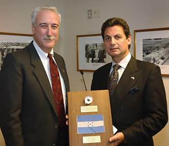 NASA Administrator presents Apollo Moon rock to Honduran Ambassador. Photo credit: NASA/Bill Ingalls.