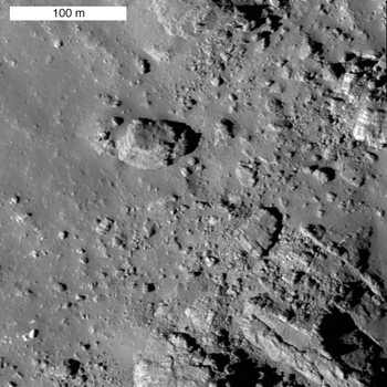 Field of striated boulders on the wall of Aristarchus crater