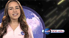 A girl against a background of Earth and simulated space radiation