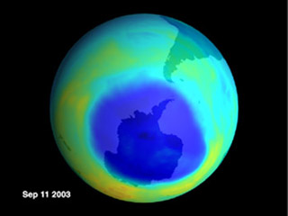 2003 Ozone hole over Antarctic
