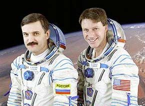 Expedition 8 Flight Engineer Alexander Kaleri (left) and Commander and NASA Station Science Officer Michael Foale (right).