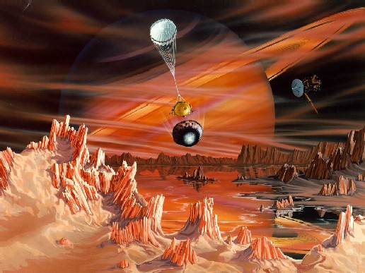 Artist's conception of Huygens probe on Titan