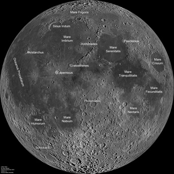WAC mosaic with major mare and craters labeled