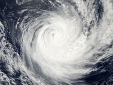 MODIS visible image of Tropical Cyclone Atu on Feb. 23 at 02:10 UTC.