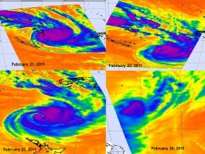 Time series of AIRS imagery shows the progression and death of Tropical Cyclone Atu from Feb. 21-24, 2011.