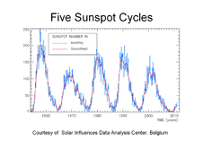 Plot of monthly sunspot numbers, for the present cycle and the four latest cycles.