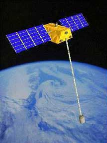 satellite tethered to a counter mass