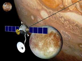 Tethered spacecraft near Jupiter and Jupiter moons