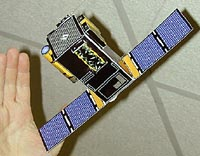 assembled paper model of the SOHO spacecraft