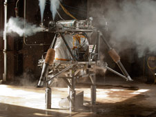 The robotic lander during strapdown testing. This phase of tests allows the engineering team to fully check out the integrated lander prototype before moving to more complex free flight tests.