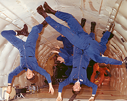 Astronauts in zero gravity training onboard the KC-135