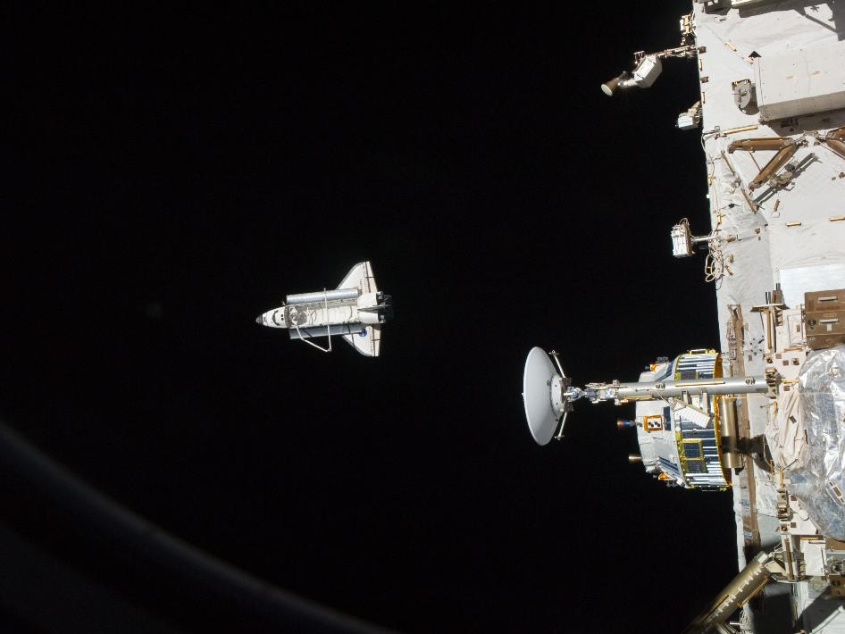 Discovery as seen from the International Space Station