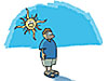 A cartoon boy stands in front of the sun and a blue sky