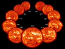 Eleven years in the life of the Sun, spanning most of solar cycle 23, as it progressed from solar minimum to maximum conditions and back to minimum (upper right) again, seen as a collage of ten full-disk images of the lower corona.