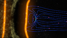 An illustration of Earth's magnetic field shielding our planet from solar particles.