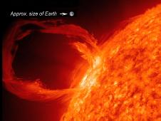 A solar eruptive prominence as seen in extreme UV light on March 30, 2010, with Earth superimposed for a sense of scale. Credit: NASA/SDO