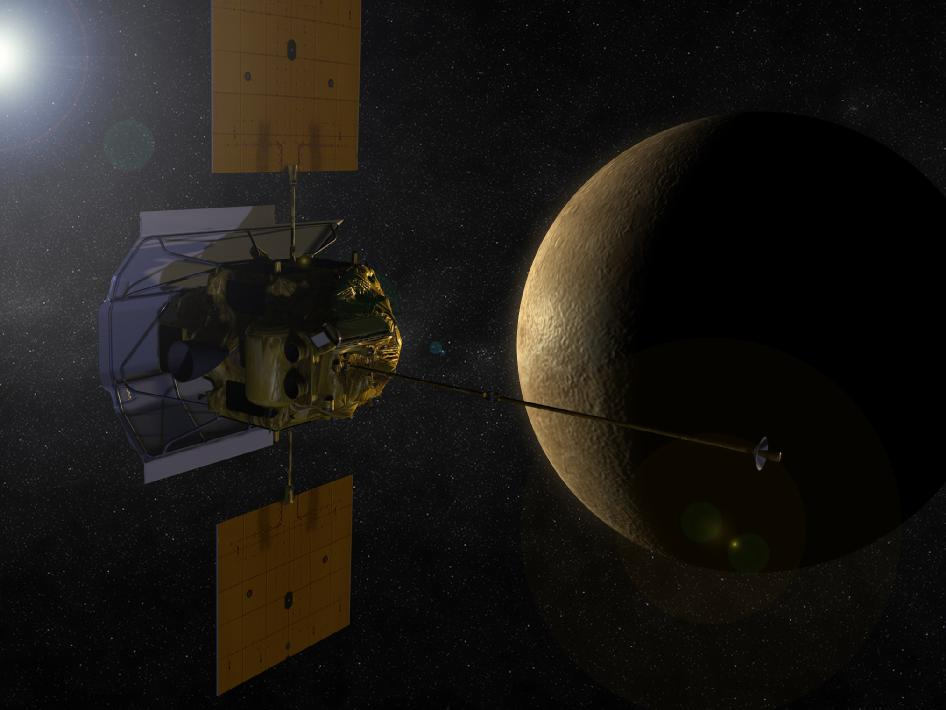 An artist's concept shows the MESSENGER spacecraft in orbit around Mercury.