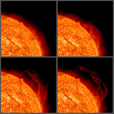 This image shows the progression of an eruptive prominence that lifted off from the Sun on Sept. 15, 2010.